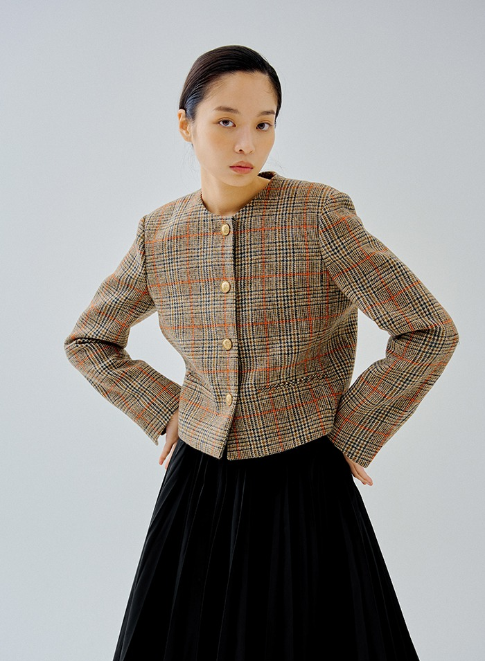 Signature cropped cut Jacket (brown)